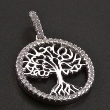 Stříbrný přívěs strom života kulatý č.1