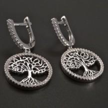 Stříbrné náušnice třpytivé stromy života