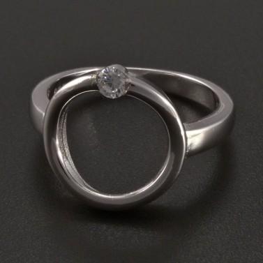 Stříbrný prsten kruh se zirkonem č.1