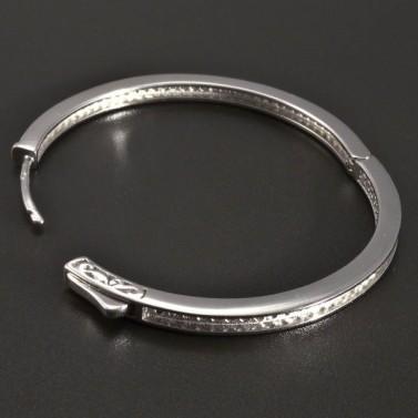 Stříbrné náušnice kruhy bílé zirkony č.2