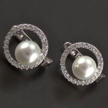 Stříbrné náušnice kruh s perlou