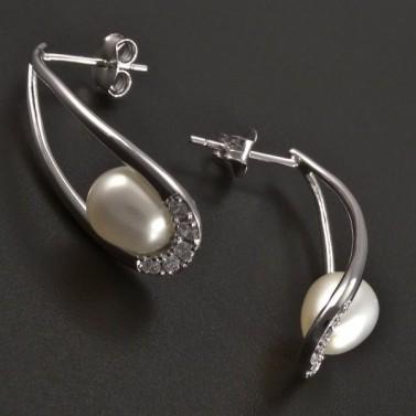 Kapkovité stříbrné náušnice s perlou č.2