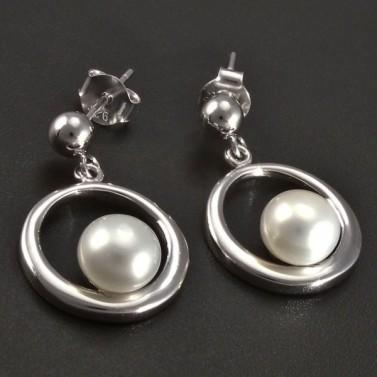 Stříbrné náušnice kolečko s bílou perlou č.1