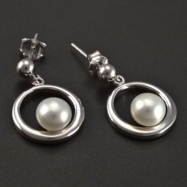 Stříbrné náušnice kolečko s bílou perlou č.2