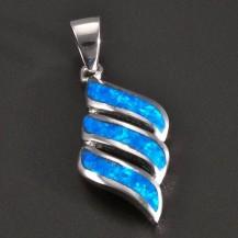 Stříbrný přívěsek tři modré opály