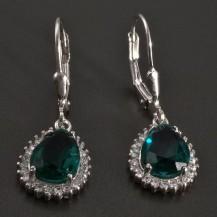 Stříbrné náušnice kapkovitý smaragd