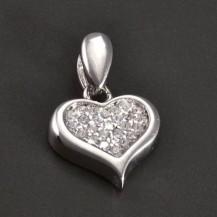 Zirkonové srdce stříbrný přívěs