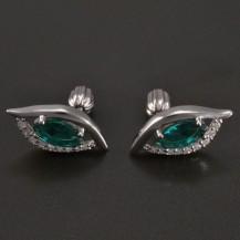 Stříbrné náušnice synt. smaragd